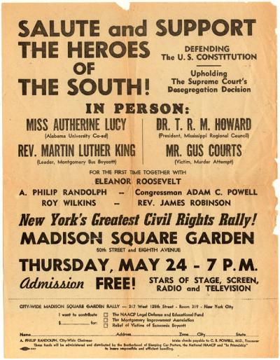 madison square garden civil rights rally flyer amistad research center
